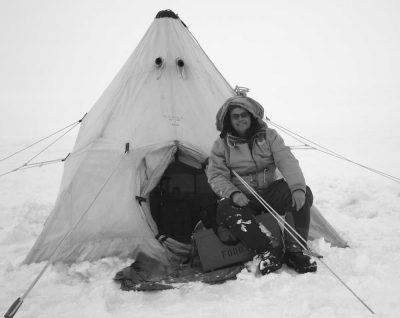 David Saul of MicroGEM during his exploration of Mt. Erebus in Antarctica. Circa 2002.
